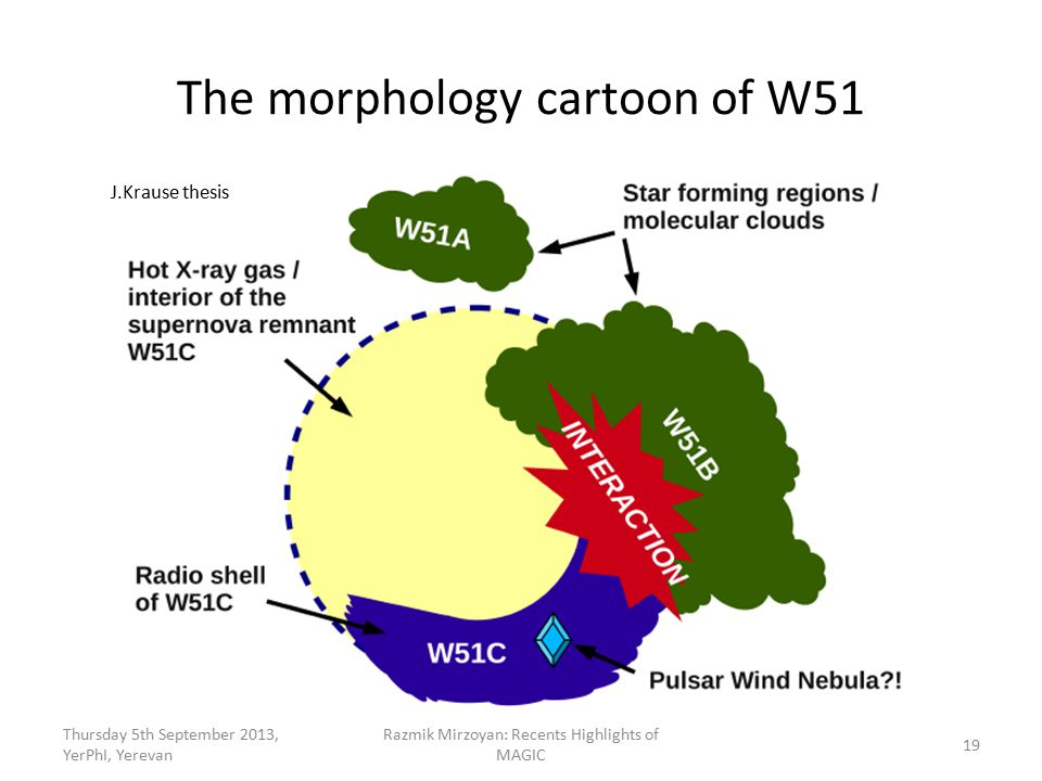 The morphology cartoon of W51 Thursday 5th September 2013, YerPhI, Yerevan Razmik Mirzoyan: Recents Highlights of MAGIC 19 J.Krause thesis