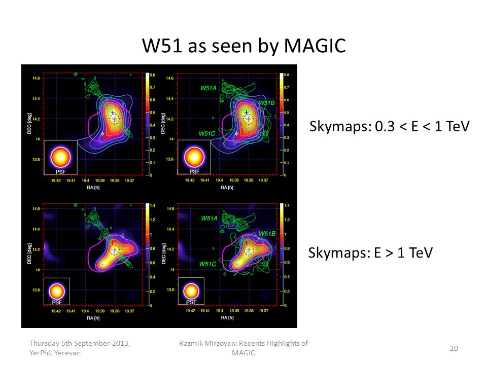 Thursday 5th September 2013, YerPhI, Yerevan Razmik Mirzoyan: Recents Highlights of MAGIC W51 as seen by MAGIC Skymaps: 0.3 < E < 1 TeV 20 Skymaps: E > 1 TeV