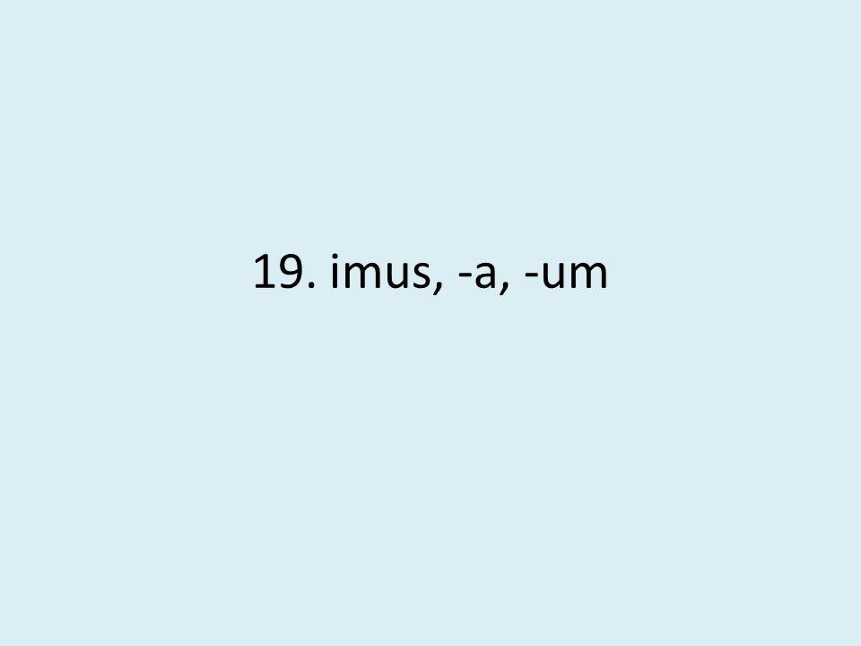 19. imus, -a, -um