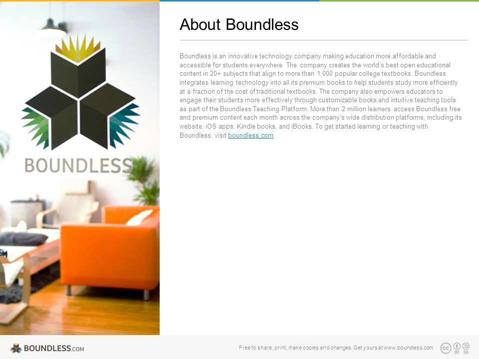 Boundless is an innovative technology company making education more affordable and accessible for students everywhere. The company creates the world's