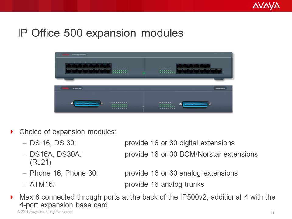 © 2011 Avaya Inc. All rights reserved. 11 IP Office 500 expansion modules  Choice of expansion modules: –DS 16, DS 30: provide 16 or 30 digital exten
