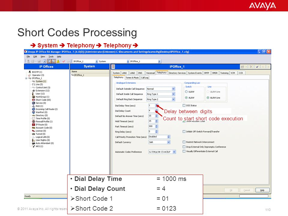© 2011 Avaya Inc. All rights reserved. 110 Short Codes Processing Dial Delay Time = 1000 ms Dial Delay Count = 4  Short Code 1 = 01  Short Code 2 =