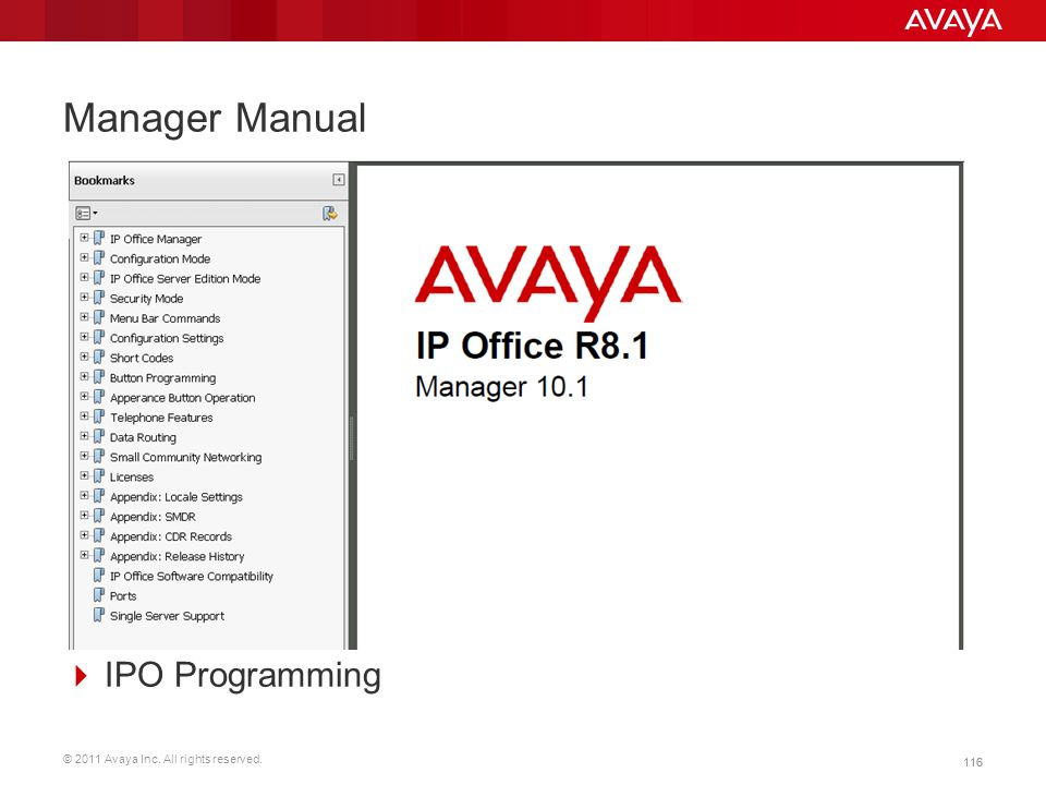 © 2011 Avaya Inc. All rights reserved. 116 Manager Manual  IPO Programming