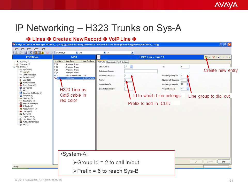 © 2011 Avaya Inc. All rights reserved. 131 IP Networking – H323 Trunks on Sys-A  Lines  Create a New Record  VoIP Line  Id to which Line belongs L