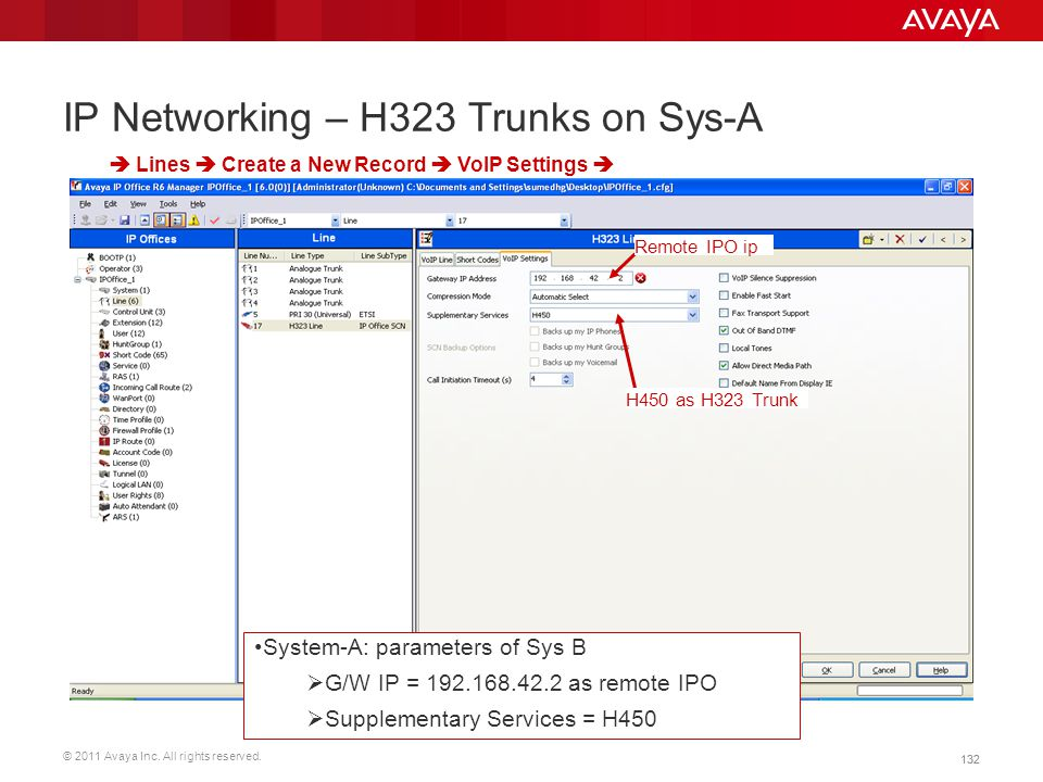 © 2011 Avaya Inc. All rights reserved. 132 IP Networking – H323 Trunks on Sys-A  Lines  Create a New Record  VoIP Settings  Remote IPO ip System-A