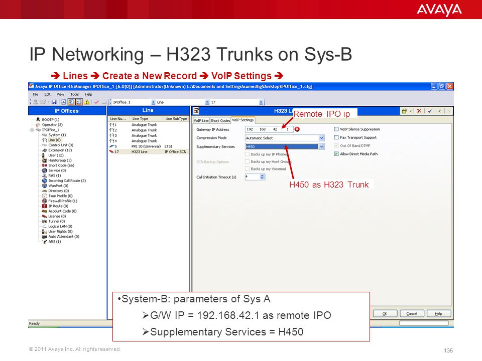 © 2011 Avaya Inc. All rights reserved. 135 IP Networking – H323 Trunks on Sys-B  Lines  Create a New Record  VoIP Settings  Remote IPO ip H450 as