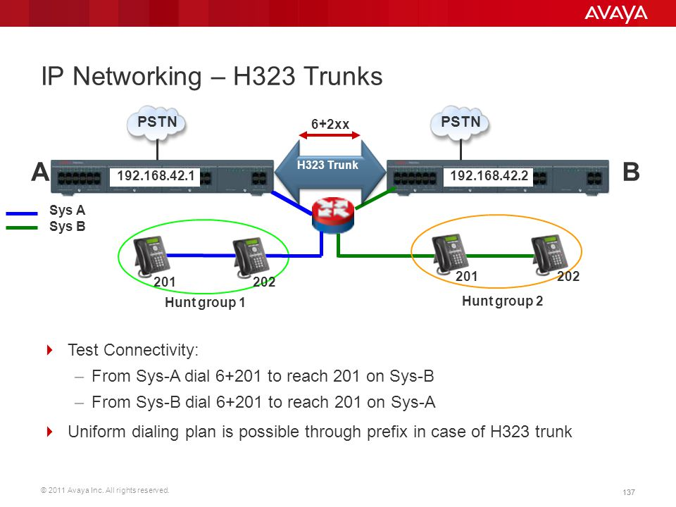 © 2011 Avaya Inc. All rights reserved. 137 IP Networking – H323 Trunks Sys B Sys A Hunt group 1 Hunt group 2 PSTN AB H323 Trunk 137  Test Connectivit
