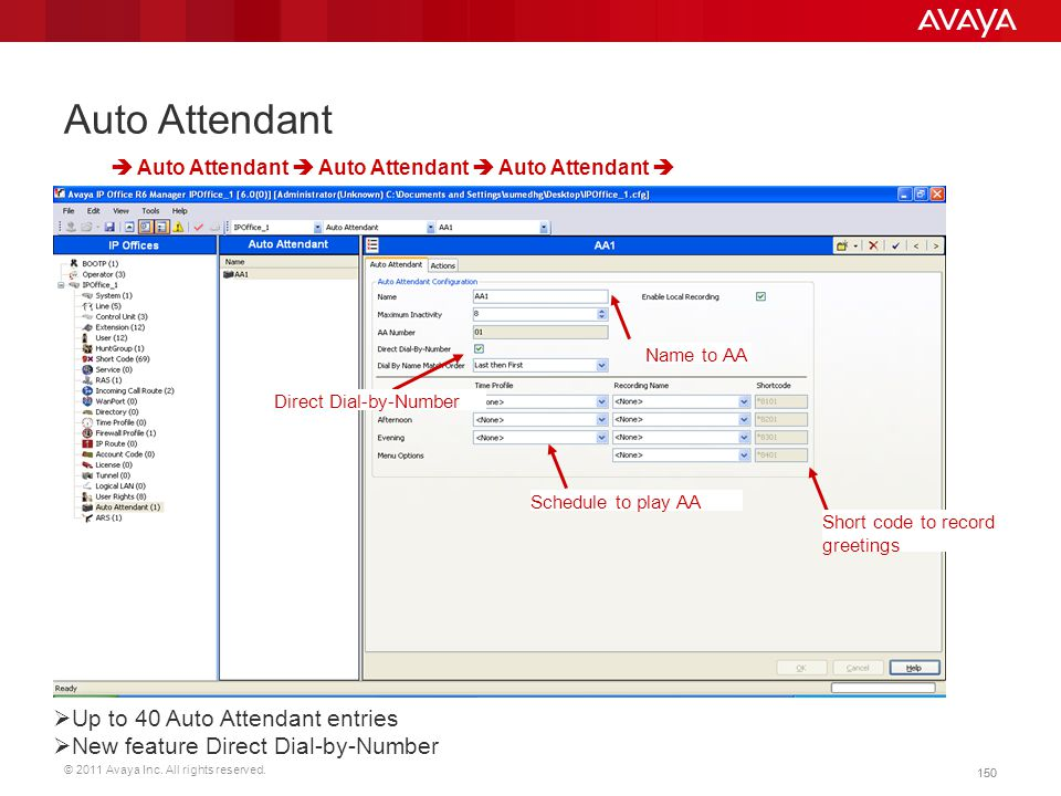 © 2011 Avaya Inc. All rights reserved. 150 Auto Attendant  Auto Attendant  Auto Attendant  Auto Attendant  Name to AA  Up to 40 Auto Attendant en