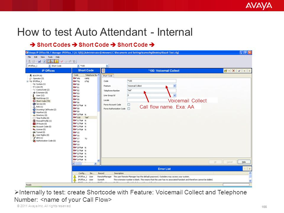 © 2011 Avaya Inc. All rights reserved. 166 How to test Auto Attendant - Internal  Short Codes  Short Code  Short Code   Internally to test: creat