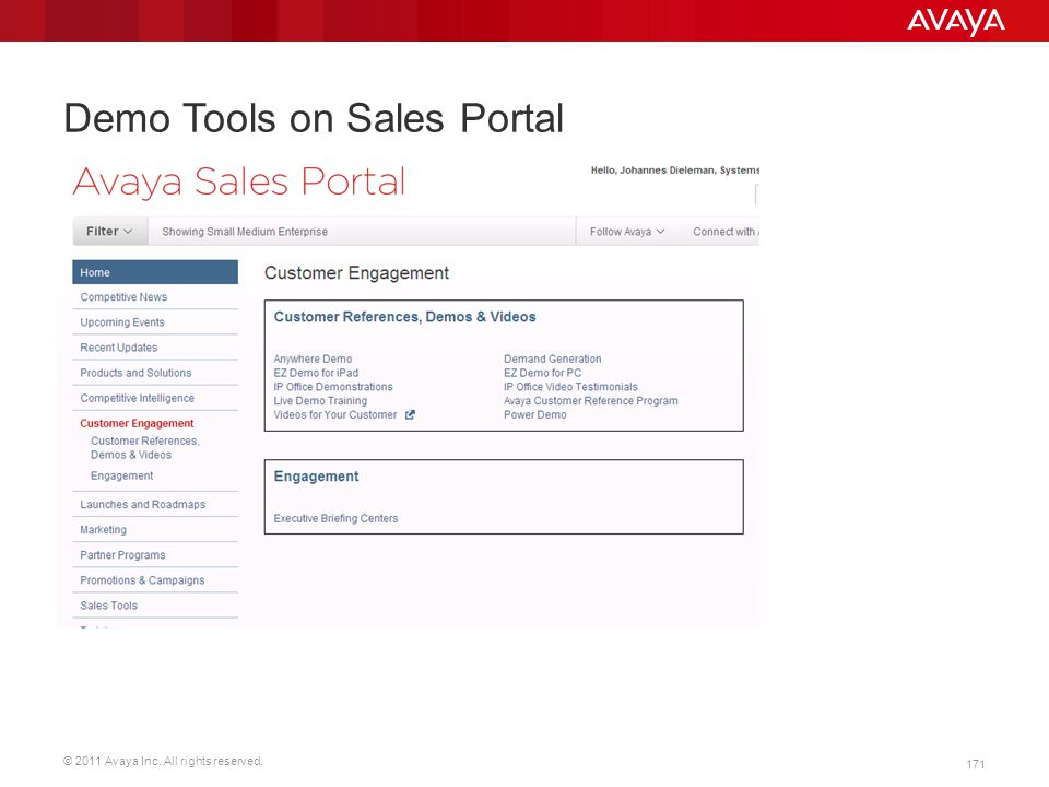 © 2011 Avaya Inc. All rights reserved. 171 Demo Tools on Sales Portal