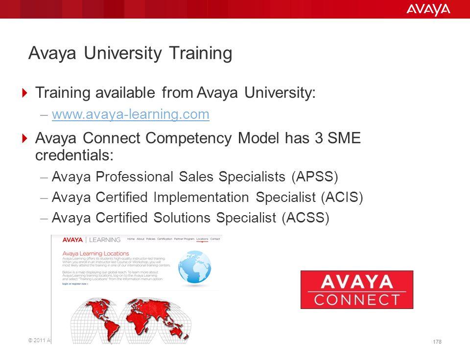 © 2011 Avaya Inc. All rights reserved. 178 Avaya University Training  Training available from Avaya University: –www.avaya-learning.comwww.avaya-lear