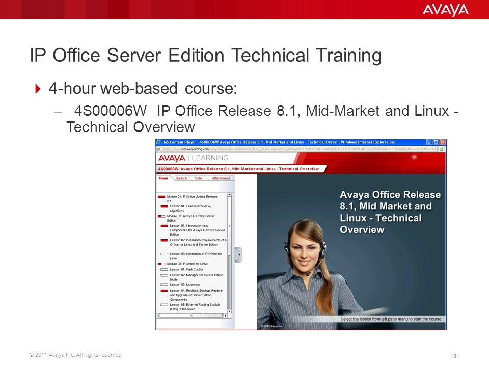 © 2011 Avaya Inc. All rights reserved. 181 IP Office Server Edition Technical Training  4-hour web-based course: – 4S00006W IP Office Release 8.1, Mi