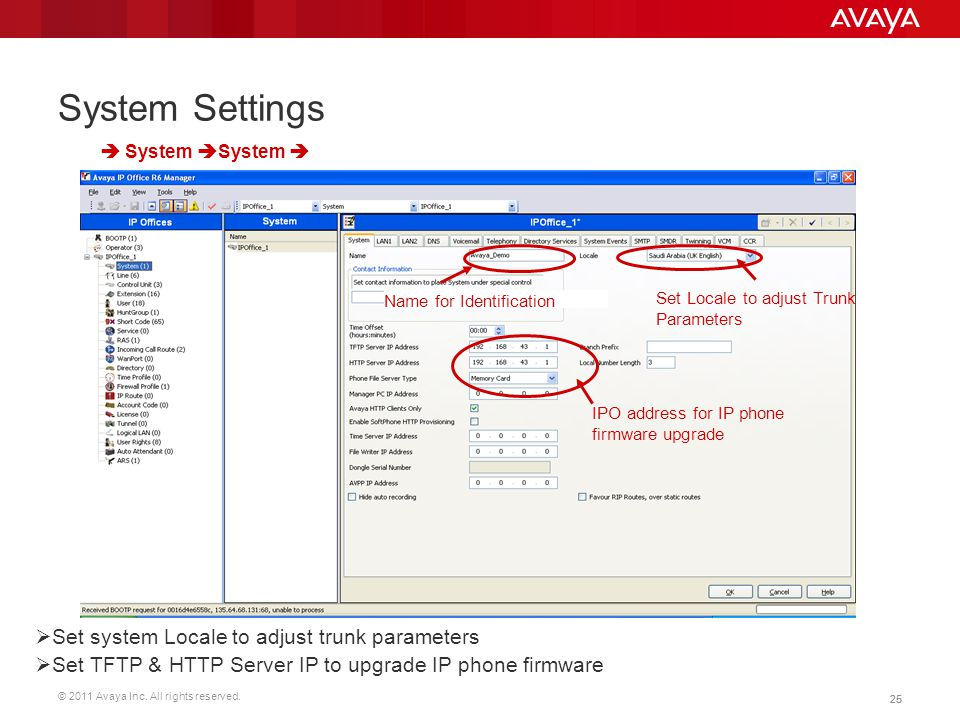 © 2011 Avaya Inc. All rights reserved. 25 System Settings  Set system Locale to adjust trunk parameters  Set TFTP & HTTP Server IP to upgrade IP pho