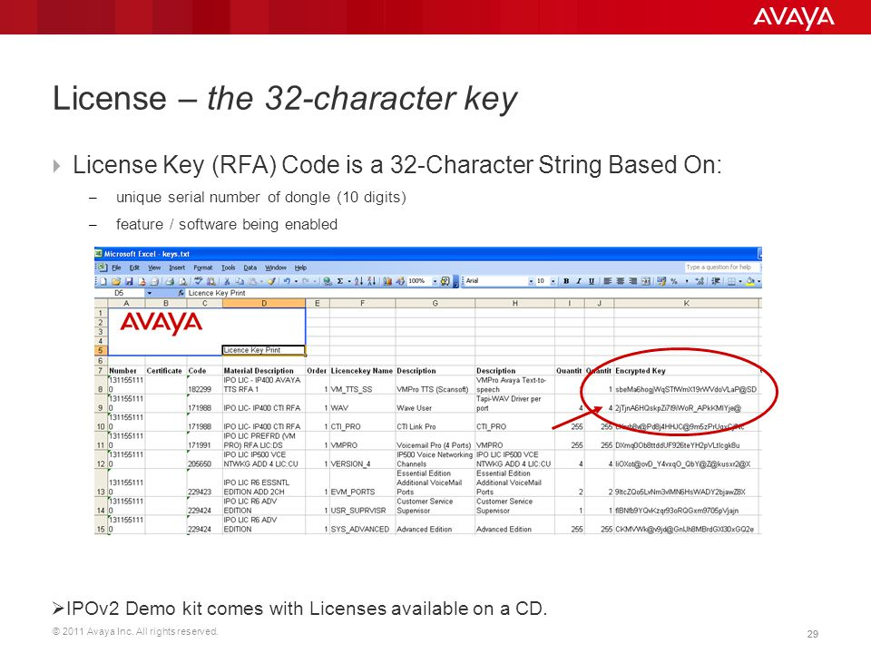 © 2011 Avaya Inc. All rights reserved. 29 License – the 32-character key  License Key (RFA) Code is a 32-Character String Based On: – unique serial n