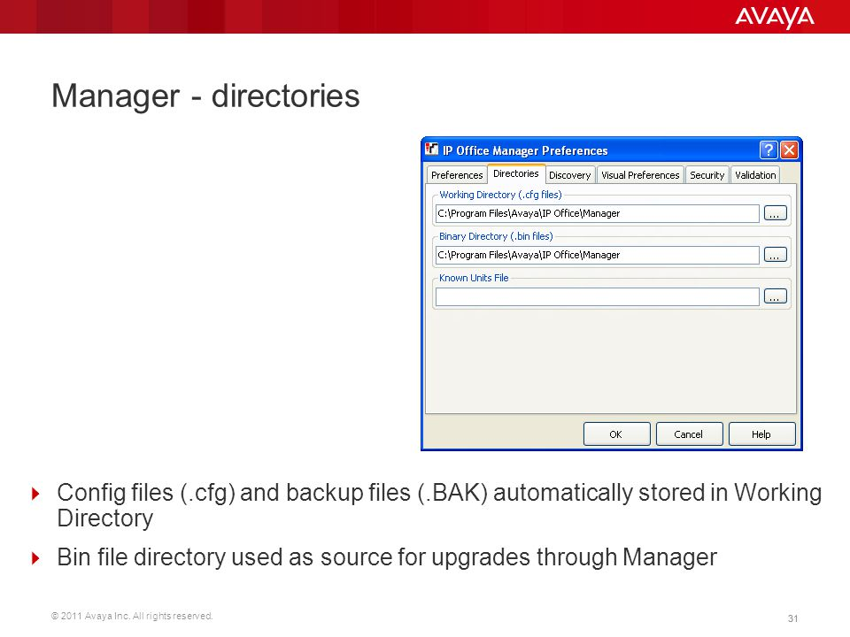 © 2011 Avaya Inc. All rights reserved. 31 Manager - directories  Config files (.cfg) and backup files (.BAK) automatically stored in Working Director