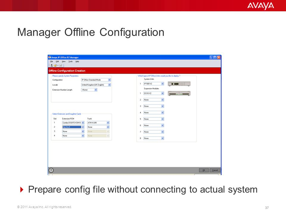 © 2011 Avaya Inc. All rights reserved. 37 Manager Offline Configuration  Prepare config file without connecting to actual system