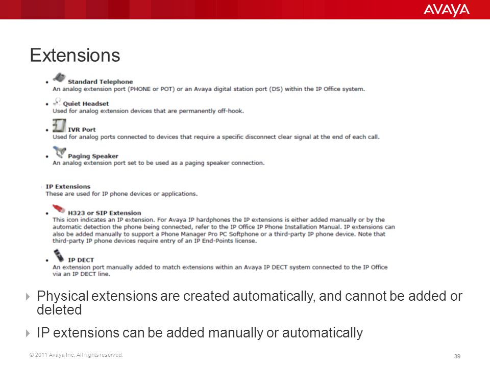 © 2011 Avaya Inc. All rights reserved. 39 Extensions  Physical extensions are created automatically, and cannot be added or deleted  IP extensions c