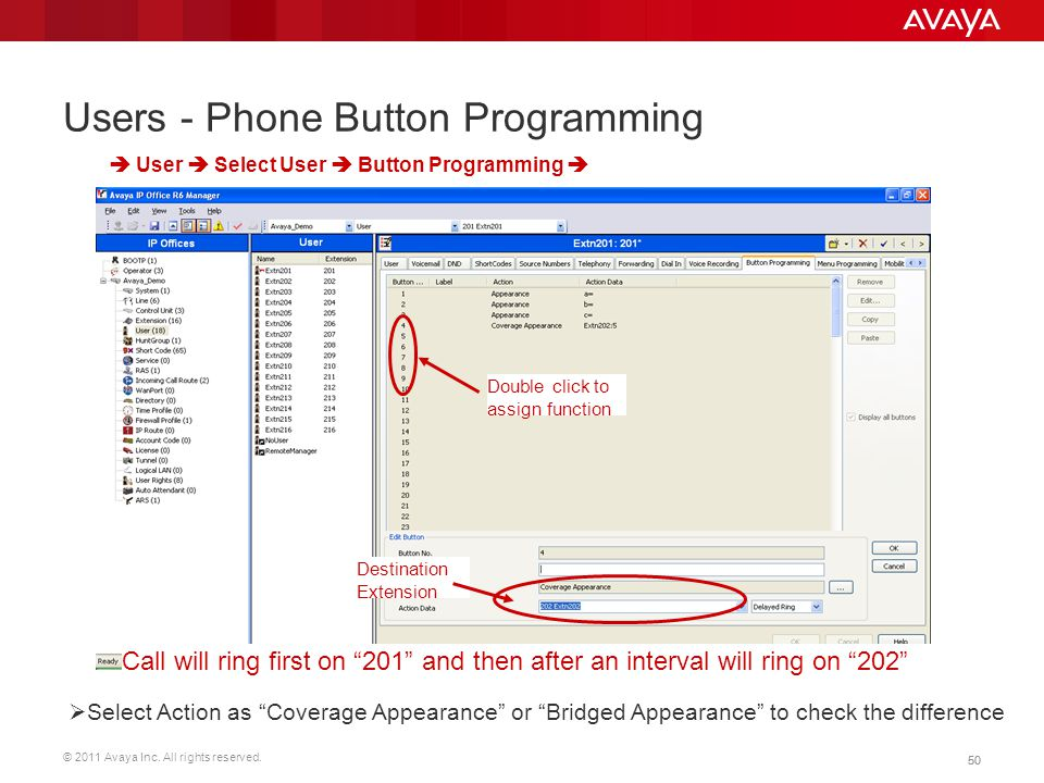 © 2011 Avaya Inc. All rights reserved. 50 Users - Phone Button Programming Double click to assign function  User  Select User  Button Programming 