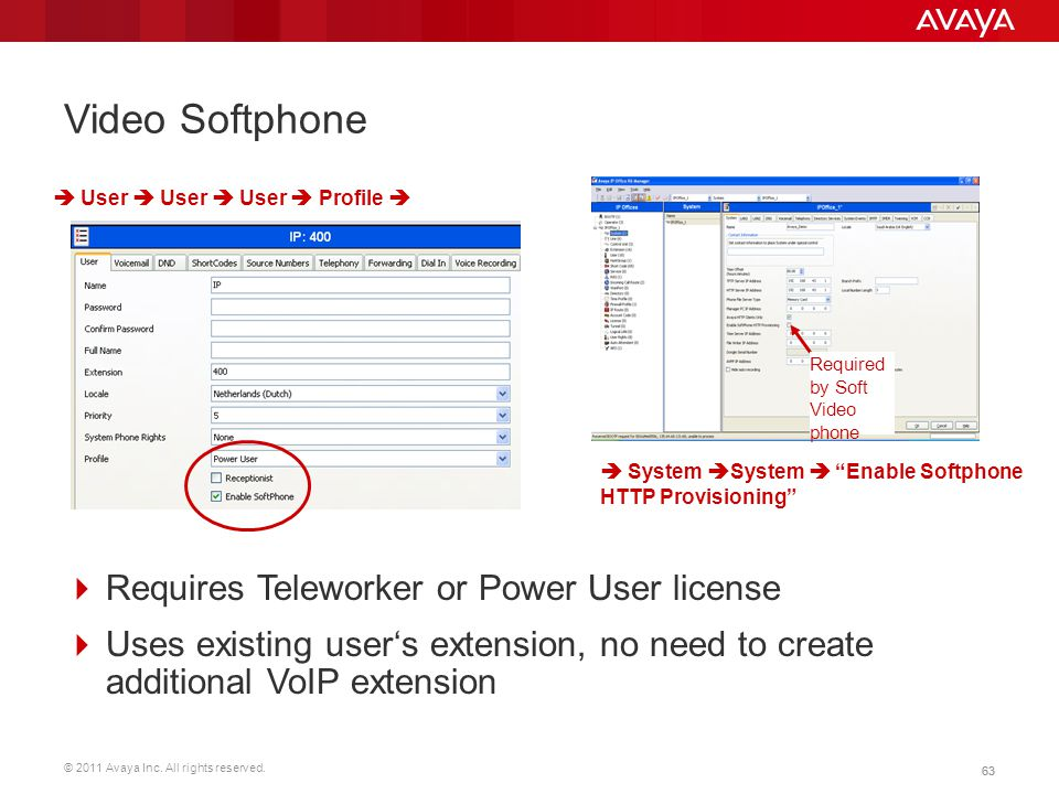 © 2011 Avaya Inc. All rights reserved. 63 Video Softphone  Requires Teleworker or Power User license  Uses existing user's extension, no need to cre
