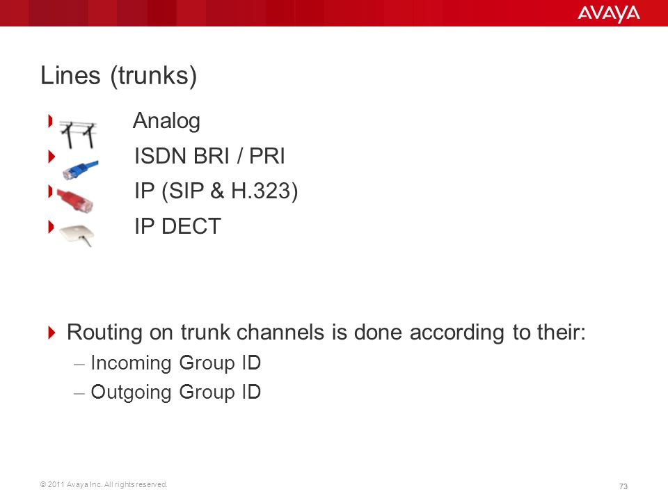 © 2011 Avaya Inc. All rights reserved. 73 Lines (trunks)  Analog  ISDN BRI / PRI  IP (SIP & H.323)  IP DECT  Routing on trunk channels is done ac