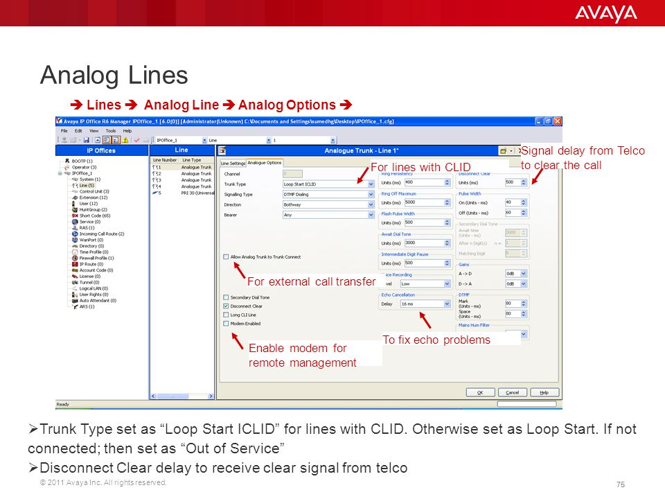 """© 2011 Avaya Inc. All rights reserved. 75 Analog Lines  Trunk Type set as """"Loop Start ICLID"""" for lines with CLID. Otherwise set as Loop Start. If not"""