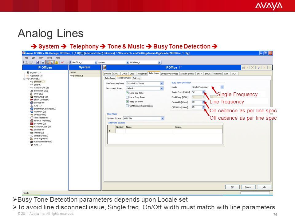 © 2011 Avaya Inc. All rights reserved. 76 Analog Lines  Busy Tone Detection parameters depends upon Locale set  To avoid line disconnect issue, Sing