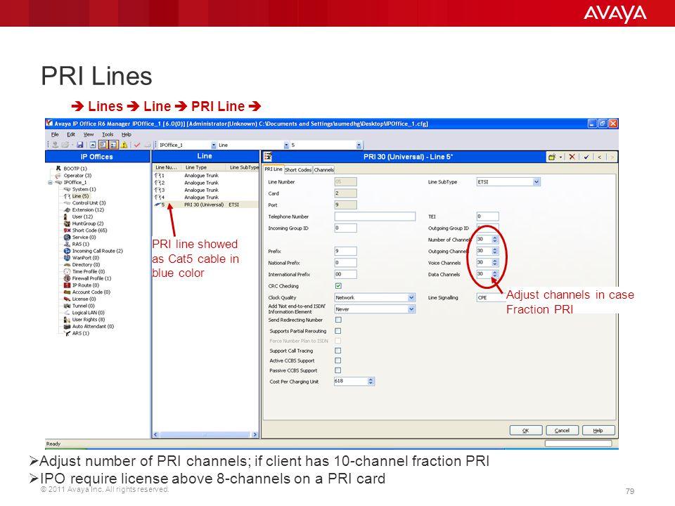 © 2011 Avaya Inc. All rights reserved. 79 PRI Lines  Lines  Line  PRI Line  PRI line showed as Cat5 cable in blue color Adjust channels in case Fr