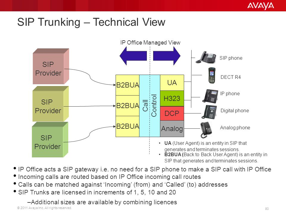 © 2011 Avaya Inc. All rights reserved. 80 SIP Trunking – Technical View SIP Provider SIP Provider SIP Provider B2BUA UA Call Control DCP Analog IP Off