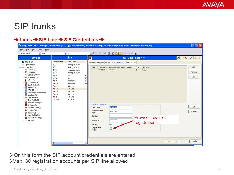 © 2011 Avaya Inc. All rights reserved. 87 SIP trunks  Lines  SIP Line  SIP Credentials   On this form the SIP account credentials are entered  M