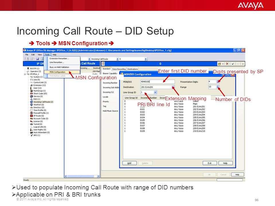 © 2011 Avaya Inc. All rights reserved. 96 Incoming Call Route – DID Setup  Tools  MSN Configuration  Enter first DID number  Used to populate Inco