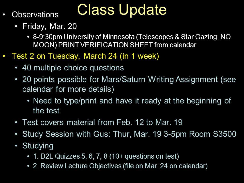 Class Update Observations Friday, Mar.