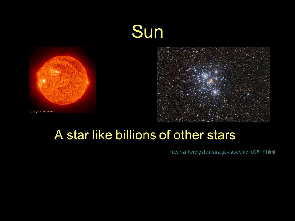 Sun A star like billions of other stars http://antwrp.gsfc.nasa.gov/apod/ap100817.html