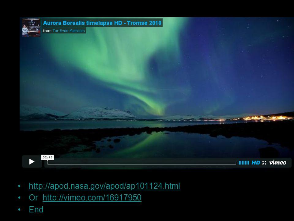 http://apod.nasa.gov/apod/ap101124.html Or http://vimeo.com/16917950http://vimeo.com/16917950 End