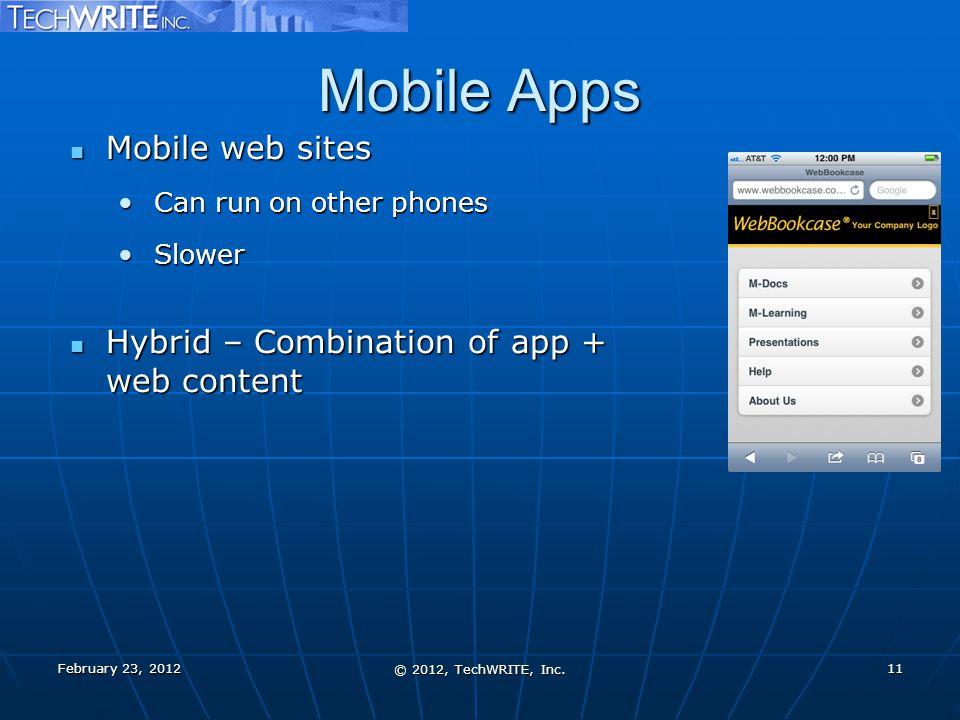 Mobile Apps Mobile web sites Mobile web sites Can run on other phonesCan run on other phones SlowerSlower Hybrid – Combination of app + web content Hybrid – Combination of app + web content © 2012, TechWRITE, Inc.