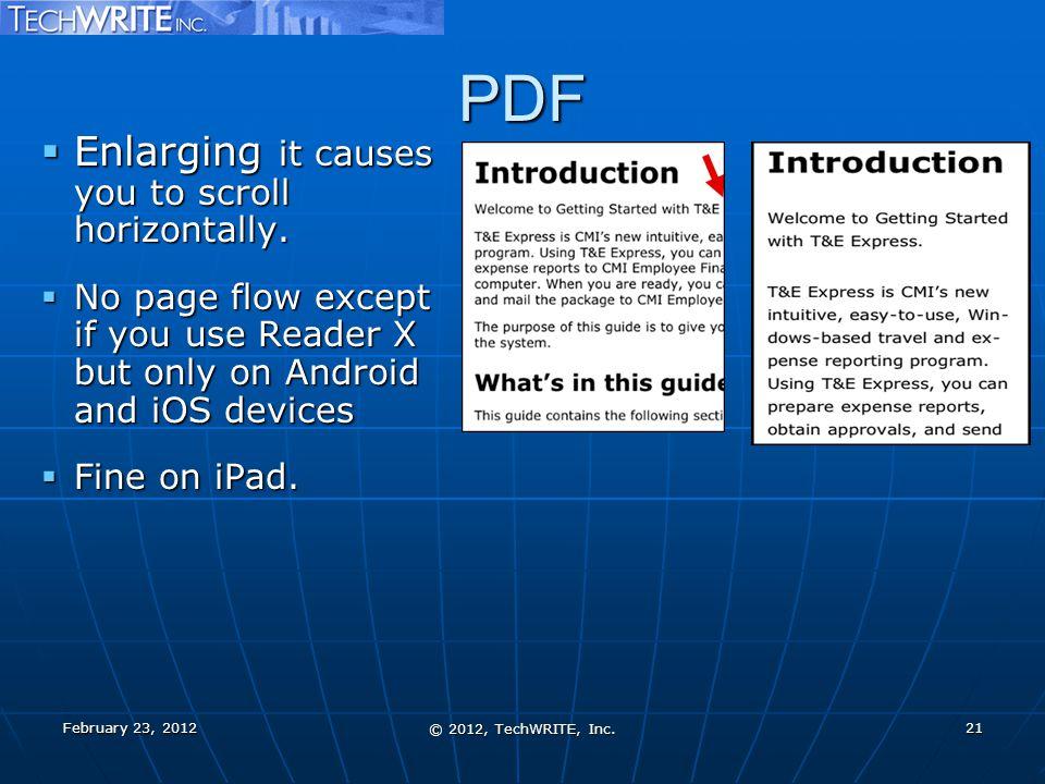 PDF  Enlarging it causes you to scroll horizontally.