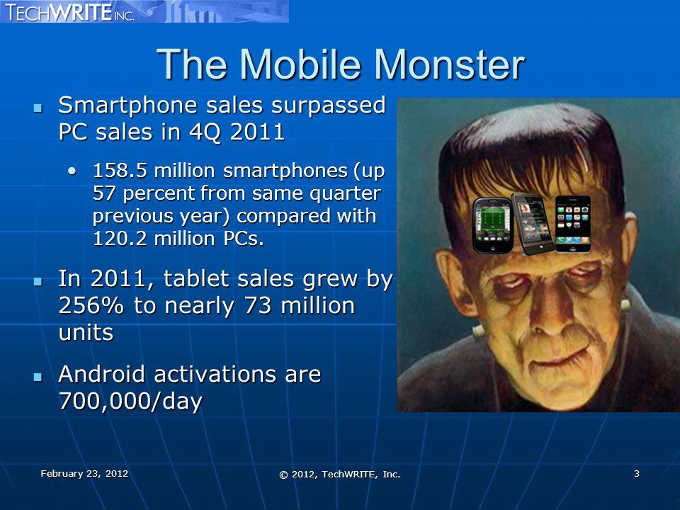 The Mobile Monster Smartphone sales surpassed PC sales in 4Q 2011 Smartphone sales surpassed PC sales in 4Q 2011 158.5 million smartphones (up 57 perc