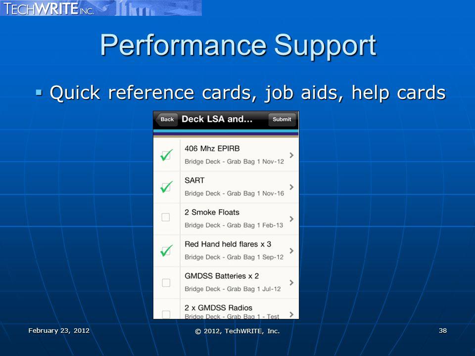 Performance Support February 23, 2012 © 2012, TechWRITE, Inc.