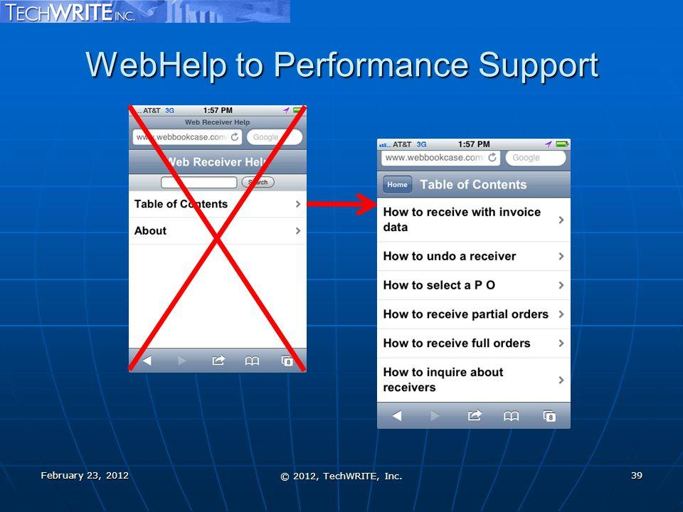 WebHelp to Performance Support February 23, 2012 © 2012, TechWRITE, Inc. 39