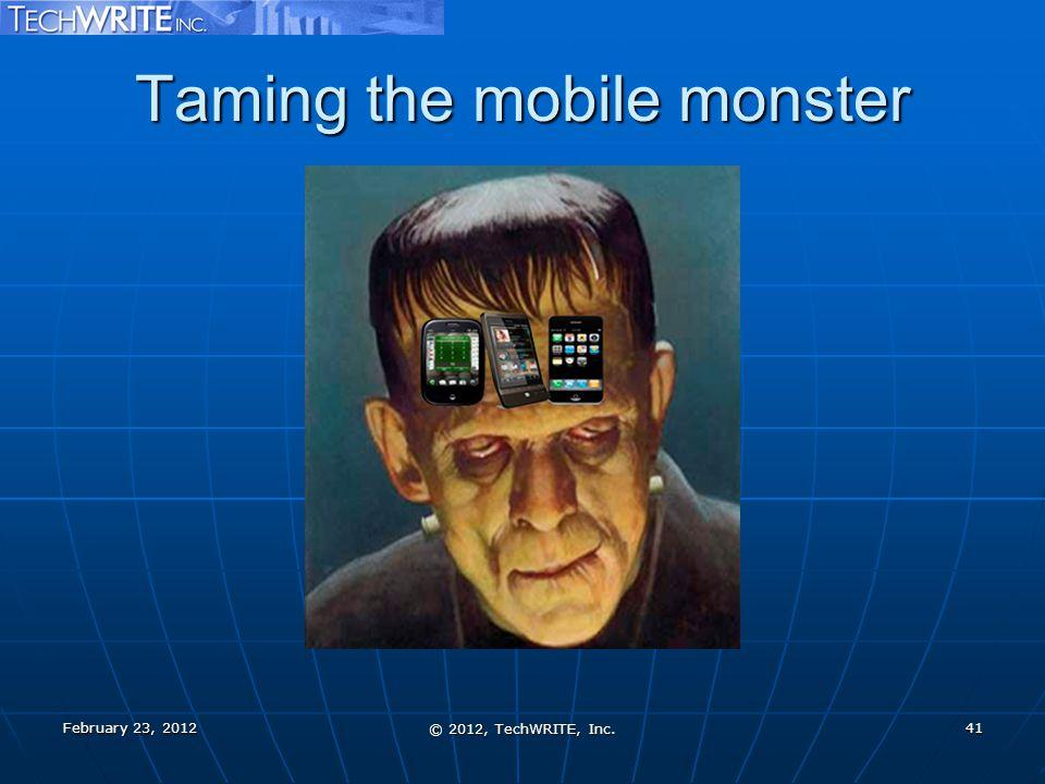Taming the mobile monster February 23, 2012 © 2012, TechWRITE, Inc. 41