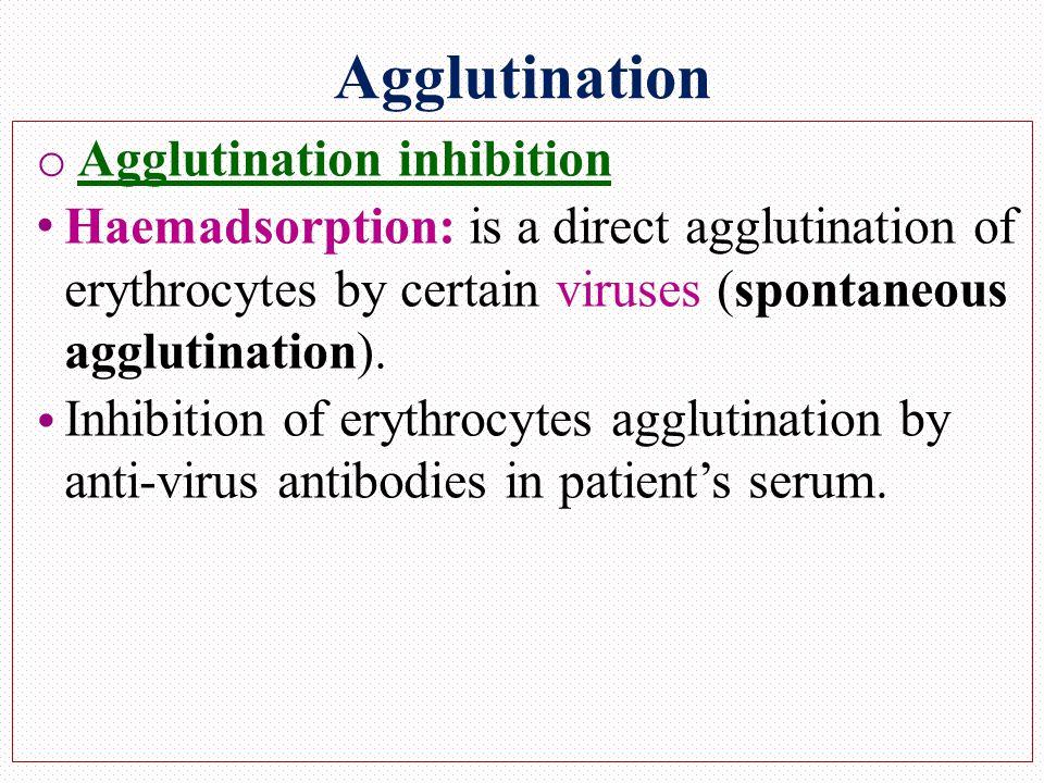 Agglutination o Agglutination inhibition Haemadsorption: is a direct agglutination of erythrocytes by certain viruses (spontaneous agglutination).