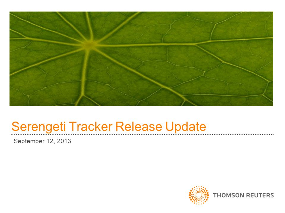 Serengeti Tracker Release Update September 12, 2013