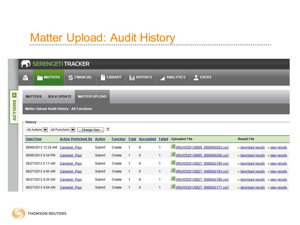 Matter Upload: Audit History