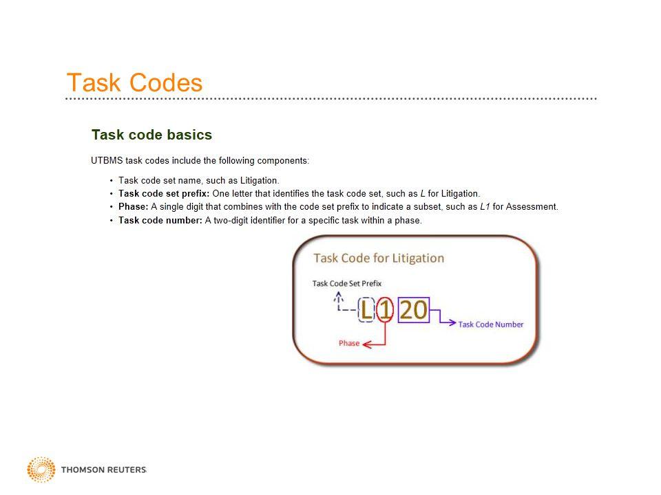 Task Codes