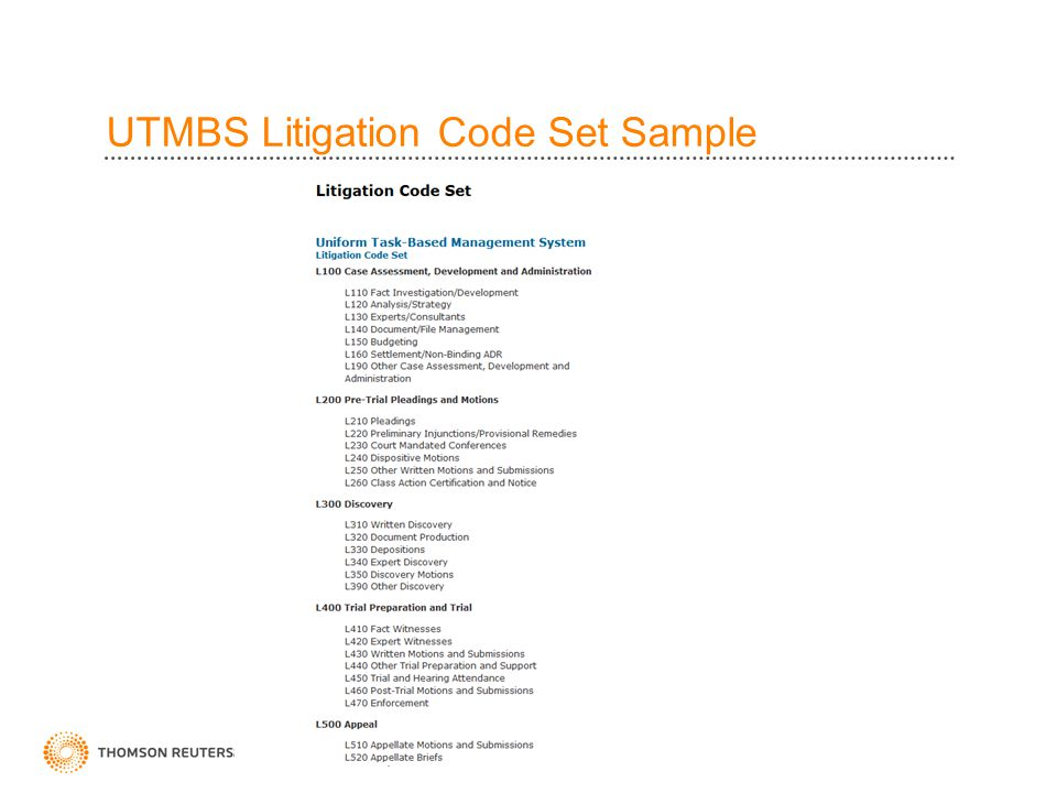 UTMBS Litigation Code Set Sample