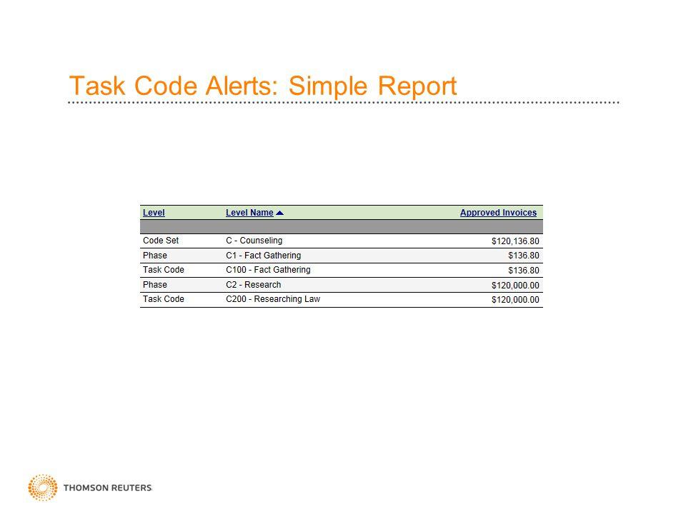 Task Code Alerts: Simple Report