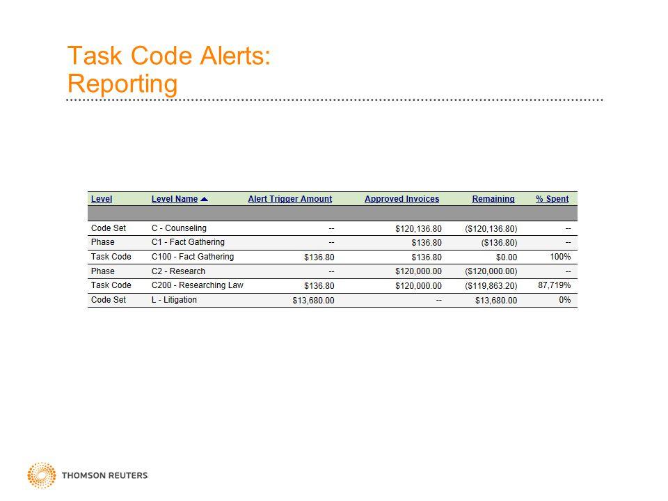 Task Code Alerts: Reporting
