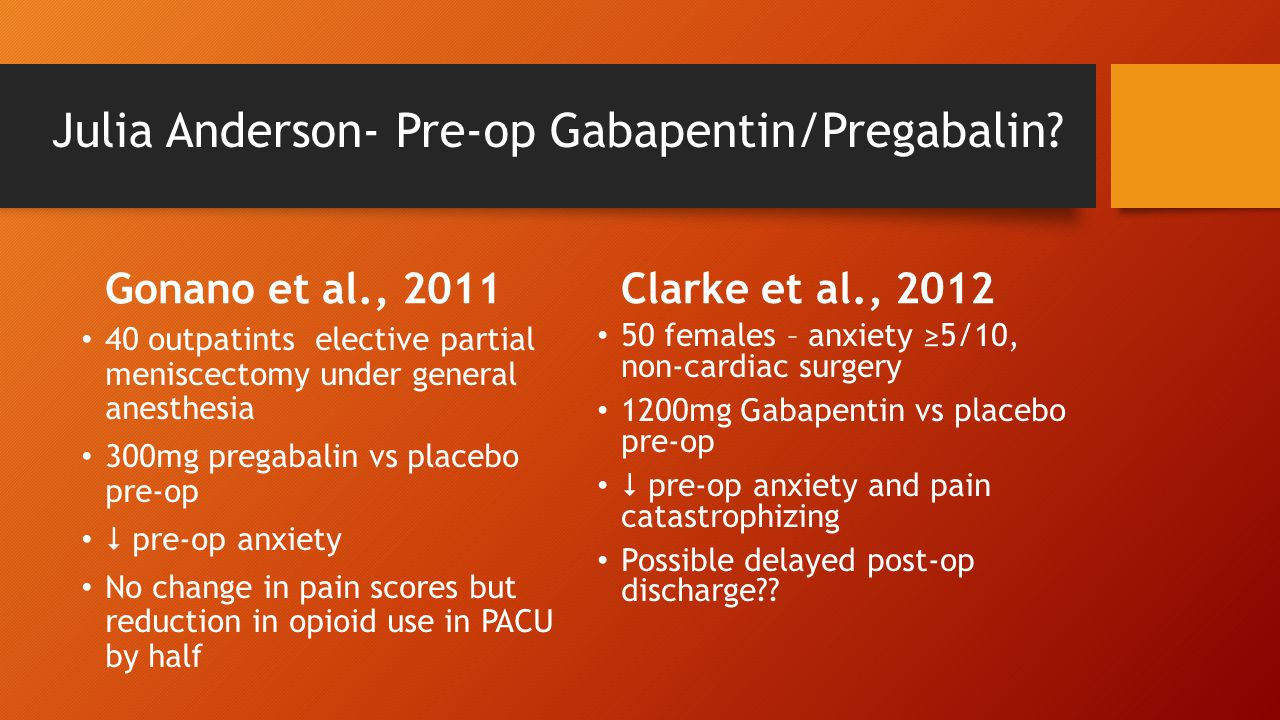 Julia Anderson- Pre-op Gabapentin/Pregabalin.