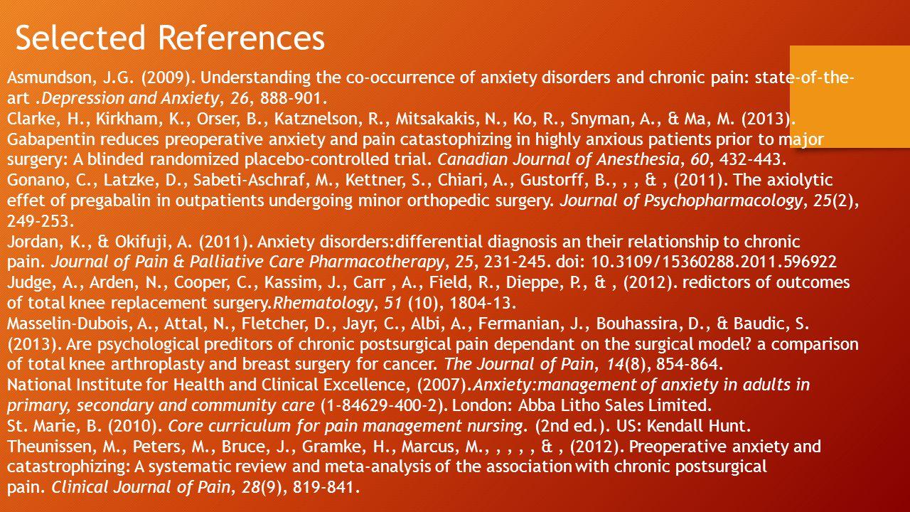 Selected References Asmundson, J.G. (2009).