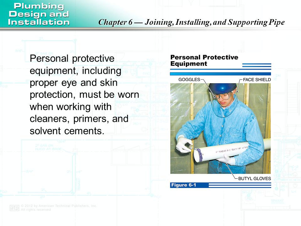 Chapter 6 — Joining, Installing, and Supporting Pipe Primers are required for PVC and CPVC plastic pipe and typically contain a permanent dye or pigment that shows that the primer has been applied to the pipe and fittings.