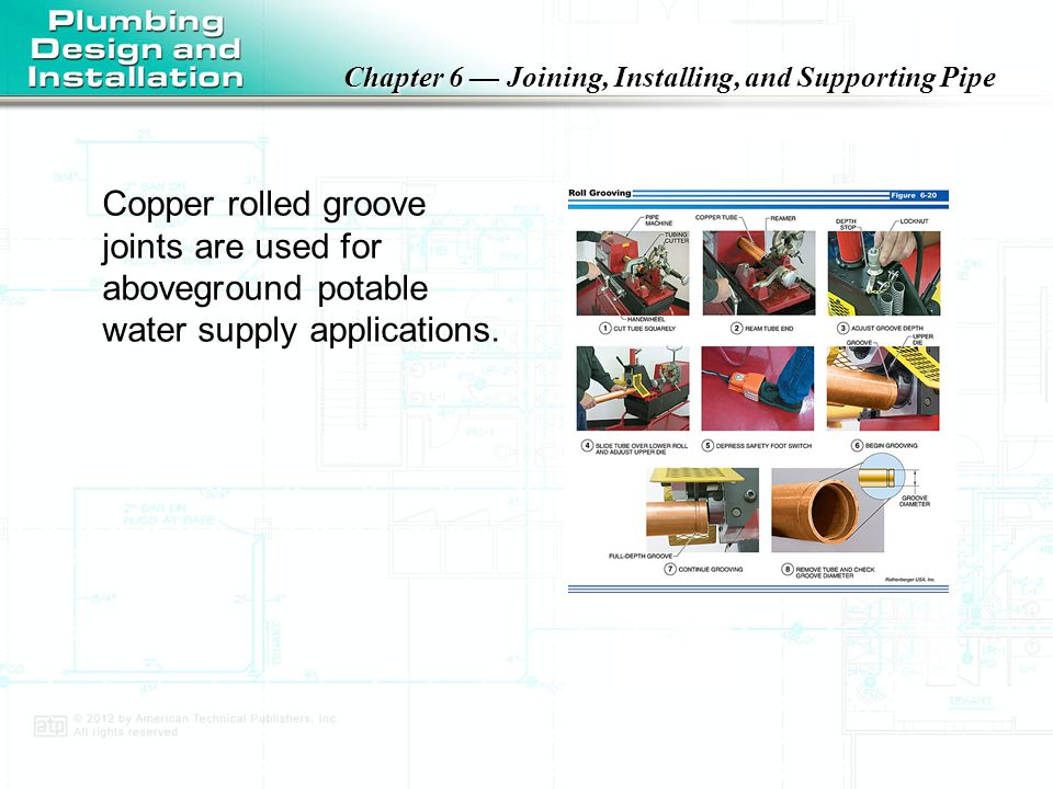 Chapter 6 — Joining, Installing, and Supporting Pipe A pi tape is used to measure the groove diameter of rolled groove pipe.